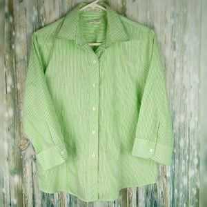 Foxcroft sport wrinkle free green & white stripe